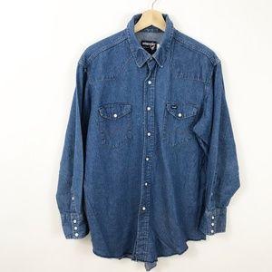 VTG Wrangler Button Front Denim Chambray Shirt